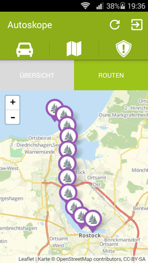 Bootskope GPS-Ortung - App-Ansicht